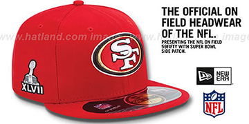 49ers 'NFL SUPER BOWL XLVII ONFIELD' Red Fitted Hat by New Era