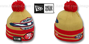 49ers 'SUPER BOWL XIX' Gold Knit Beanie Hat by New Era