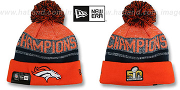 Broncos 'SUPER BOWL 50 CHAMPS' Knit Beanie Hat by New Era