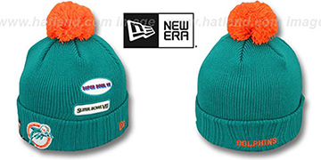 Dolphins 'SUPER BOWL PATCHES' Aqua Knit Beanie Hat by New Era