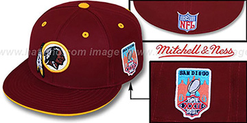 Redskins 'SCRIMMAGE PATCH' Burgundy Fitted Hat by Mitchell & Ness