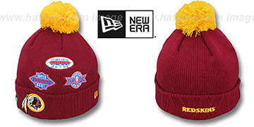 Redskins 'SUPER BOWL PATCHES' Burgundy Knit Beanie Hat by New Era