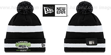Seahawks 'SUPER BOWL XLVIII CHAMPS ' Black-White Knit Beanie Hat by New Era