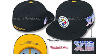 Steelers 'SUPER BOWL XIII CHAMPS' Black Fitted Hat by Mitchell & Ness