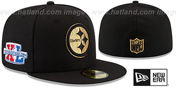 Steelers 'SUPER BOWL XL GOLD-50' Black Fitted Hat by New Era