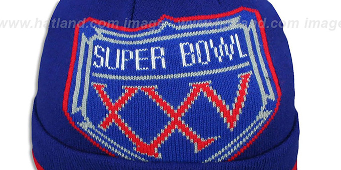 SuperBowlHats.com - Super Bowl Hats - NY Giants  SUPER BOWL XXV  Royal Knit  Beanie Hat by New Era d71e79821