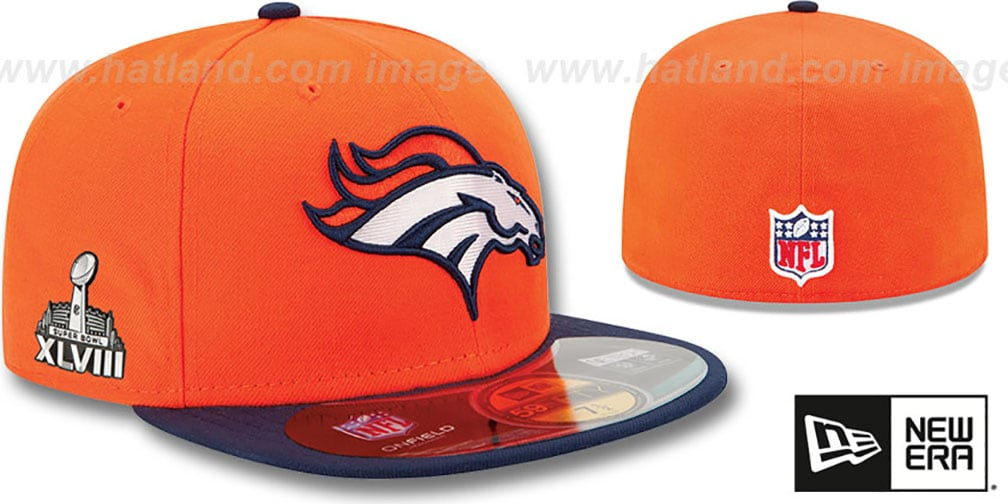 Broncos 'NFL SUPER BOWL XLVIII ONFIELD' Orange-Navy Fitted Hat by New Era