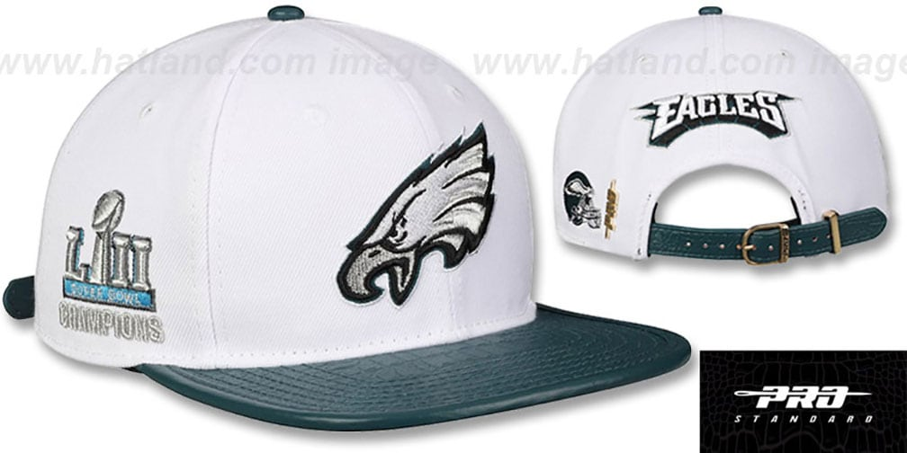 f38556c8 Eagles 'TEAM LOGO SUPER BOWL LII CHAMPS STRAPBACK' White-Green Hat by Pro