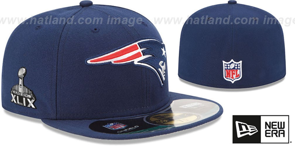 Patriots 'NFL SUPER BOWL XLIX ONFIELD' Navy Fitted Hat by New Era