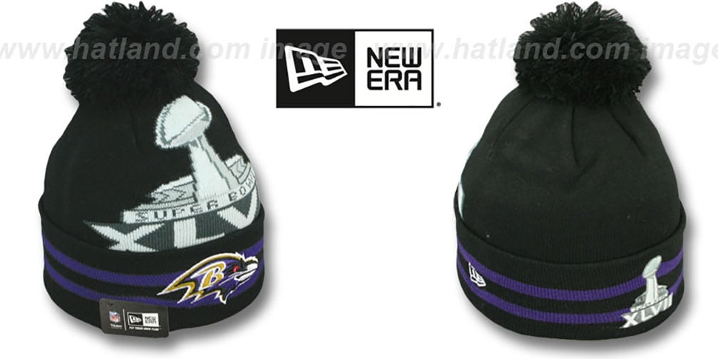 Ravens 'SUPER BOWL XLVII' Black Knit Beanie Hat by New Era