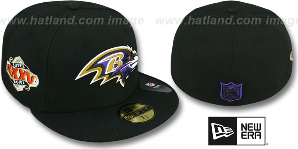 Ravens 'SUPER BOWL XXXV' Black Fitted Hat by New Era