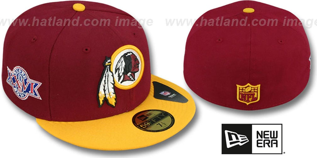 Redskins 'SUPER BOWL XXVI' Burgundy-Gold Fitted Hat by New Era