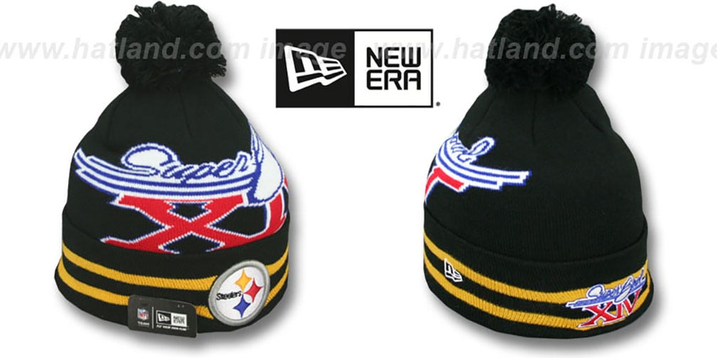 Steelers 'SUPER BOWL XIV' Black Knit Beanie Hat by New Era