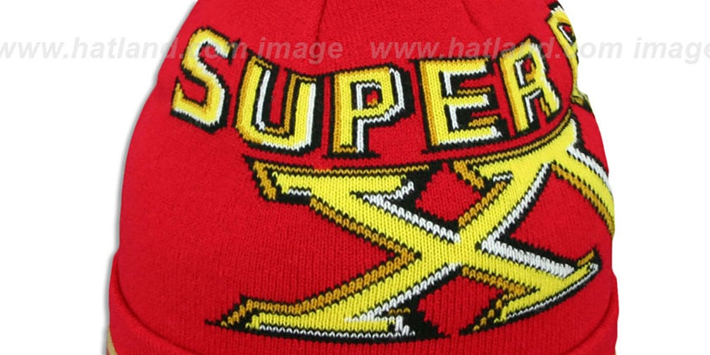 49ers 'SUPER BOWL XVI' Red Knit Beanie Hat by New Era