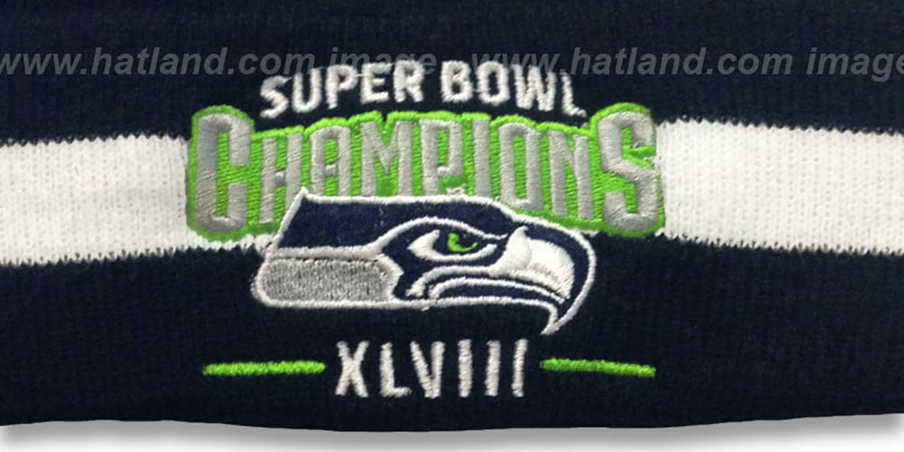Seahawks 'SUPER BOWL XLVIII CHAMPS ' Navy-White Knit Beanie Hat by New Era