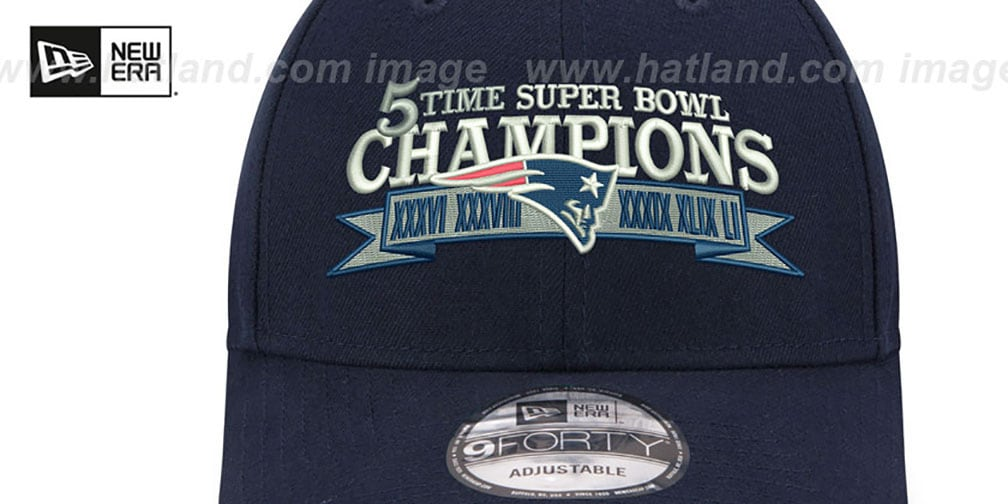 Patriots  NFL 5-TIME SUPER BOWL CHAMPS  Navy Strapback Hat by New Era 394a8a101