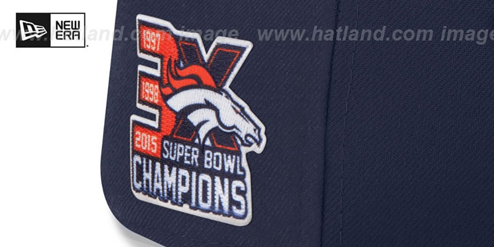 Broncos 'NFL 3X SUPER BOWL CHAMPS' Navy Fitted Hat by New Era